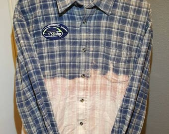 Seahawk Navy and Pink Faded Flannel