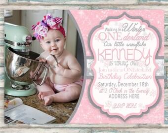 Winter ONEderland Birthday Invitation - First Birthday Invite - ONE