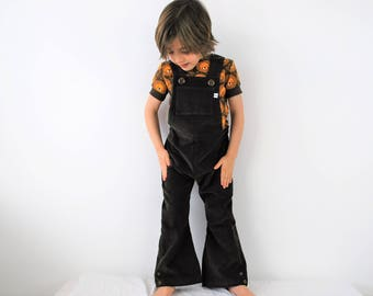 Kids dungarees overalls retro flared or straight leg brown cotton corduroy autumn baby toddler chocolate clothes clothing boys girl unisex