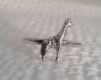 Giraffe Ring, Solid Sterling Silver Giraffe Ring, Safari Jewelry, African Animal Jewelry