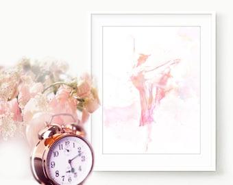 Pale Pink Ballet Print , DIGITAL Download Print , Ballet Pink Nursery Decor , Baby Girl Nursery , Dance Poster