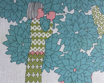 Vintage Wallpaper-1960s little girl playing flute to birds in trees by Inaltera-by the yard