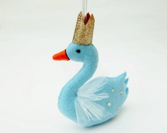 Felt Party Swan Decoration in Light Blue with Rose Gold Crown, Hand Sewn Swan Decoration, Parties, Christening, New Baby