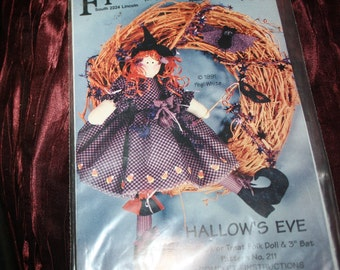 vintage Halloween witch and bat  Hallows Eve   uncut pattern