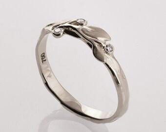 Leaves Diamonds Ring No. 9D - 14K White Gold and Diamonds engagement ring, engagement ring, leaf ring, antique, art nouveau, vintage