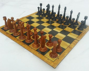 Antique old big wooden chess set, vintage large chess