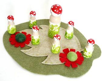 Mushrooms peg dolls set with mat, Pretend Play, Creative play, Mushroom dolls, Woodland creatures, Waldorf toy, Montessori, Felt play set