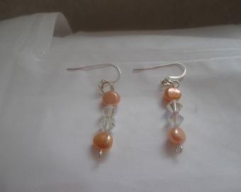 Swarovski, freshwater cultured pearls, earrings