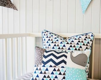 Whale 3 pc Baby boy Crib Set ; Crib quilt, Patch pillowcase,Felt Whale toy ..crib bedding, baby boy nursery