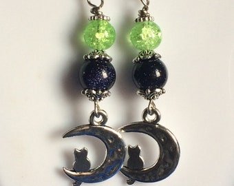 Little Cat On Moon Earrings with Blue Sand Stone Bead