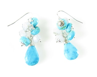 Turquoise Cluster Earring, Natural Blue Turquoise Dangle, Sterling Silver & Turquoise Jewelry