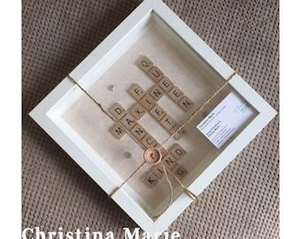 Happy 50th birthday frame, handmade scrabble gift present