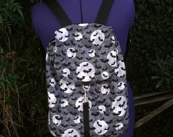 large bats and moon print backpack halloween backpack UK seller
