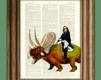 Benjamin Franklin riding a dinosaur beautifully upcycled dictionary page book art print