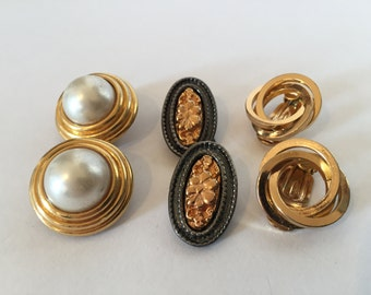 Lot Pairs Vintage Metallic Earrings - Clip On Earrings  - Triad - Faux Pearl - Gold Tone