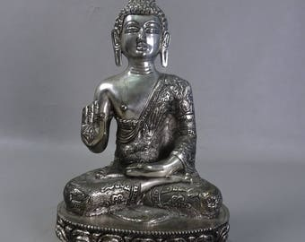 Bronze buddha silverplated