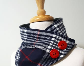 Navy Blue and Red Tartan Plaid Neck Warmer Scarf, Wrap, Neckwarmer with Red Decorative Buttons