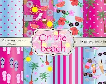 summer digital paper, beach seamless pattern, beach paper pack, summer paper pack, vacation digital paper pack, digital background, planner
