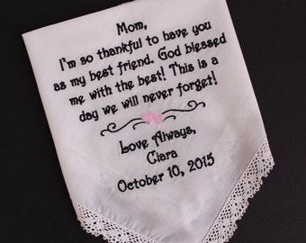 Mother of the Bride wedding handkerchief, Mom I'm so thankful wedding Hanky, Mom, Beautiful Gift Custom. IVORY,LS7F21