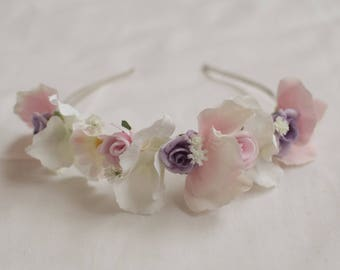 Pastel Floral Crown, Bridesmaid Flower Crown, Bridesmaids Hair Accessories, Bridal Accessories, Pink Purple Floral Crown, Flower Crown