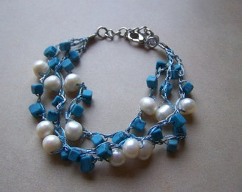 Turquoise and Freshwater Pearl Triple Strand Bracelet