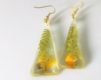Japanese Kerria and Fern,  Real Flower Earrings,  Pressed Flower Jewelry,  Resin (3116)