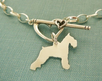 Schnauzer Chain Bracelet, Sterling Silver Personalize Pendant, Breed Silhouette Charm, Rescue Shelter, Mothers Day Gift