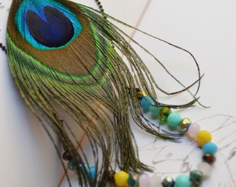 "Double necklace ""Gipsy"", feather of Peacock pearls and faceted"