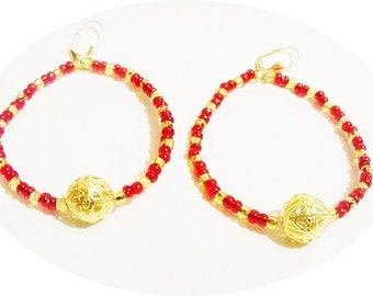 Large Hoop Earrings, Red Hoop Earrings, Red and Gold Earrings,Pirate Hoops, Funky Hoops, Party Earrings, Red Earrings, Gold Earrings