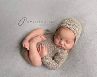 PDF Knitting Pattern  - newborn photography prop_Classic long sleeved romper and bonnet SET #145