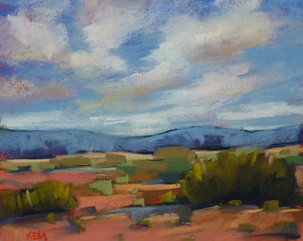 Contemporary Landscape SOUTHWEST Desert Original Pastel Painting 8x10 by Karen Margulis psa