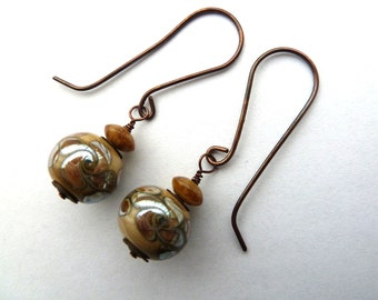ivory and silver lampwork and copper earrings, UK handmade jewellery
