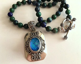 Chrysocolla Necklace-Mystic Topaz Pendant Necklace