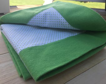 Green Polka Dot Flannel Receiving Blanket with Contrasting Trim