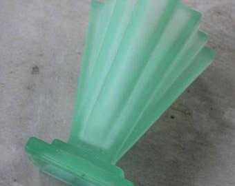 Bagley Green Glass Deco Vase