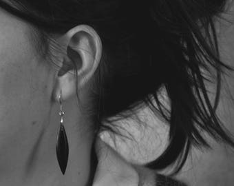 Black polished acrylic earrings
