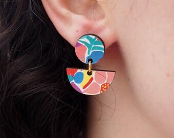 Statement earrings, art deco jewelry, unusual earrings, unique gifts, drop earrings, flowers gifts, fashion earrings, gifts for women