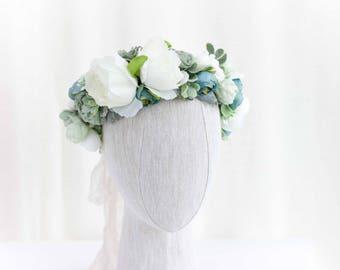 Blue Flower Crown, Light Blue Flower Crown, Blue Flower Crown, Boho Flower Crown, Blue Green Flower Crown, Summer Flower Crown, Flower Girl