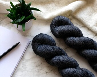 Hand dyed yarn, handgefärbte Wolle, hand dyed lace yarn, cashmere yarn, handdyed yarn, handmade gift for wif e, PREORDER - Steel