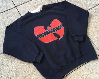WU TANG Wu Wear Pullover Hip Hop Vintage Big Logo Method Man ODB