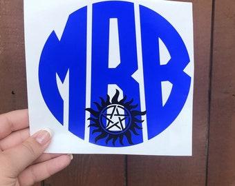 Monogram Supernatural decal sticker, supernatural decal, supernatural, antipossession decal, anti possession, car decal, supernatural gift