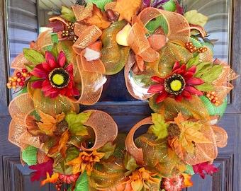 Etsy Fall Wreath   Thanksgiving Wreath   Fall Decorations   Orange, Green & Gold Wreath   Wreaths on Etsy   Etsy Wreaths