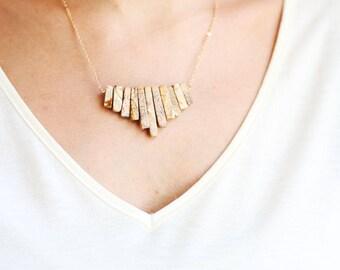 Tribal Fringe Jasper Necklace | 14k Gold Filled Necklace | Sterling Silver Necklace | Fringe Necklace | Stone Necklace
