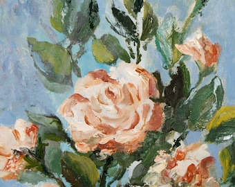 Roses - Oil on canvas painting - Knife painting - 12x16 inches - Still Life Floral - gift idea - wedding gift idea