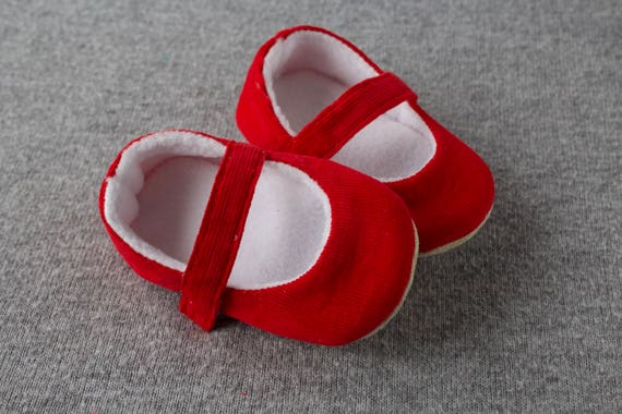Red soft cotton cord MaryJane pre walker and toddler shoes