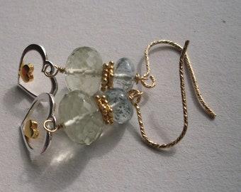 Prasiolite earrings, green amethyst, moss aquamarine, kakoxenite