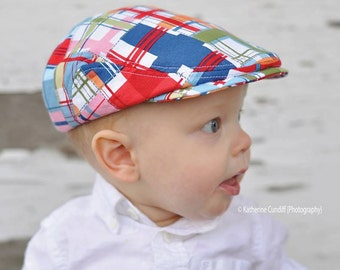 Baby flat cap, madras check baby newsboy hat, baby photo prop flat cap, golf hat, drivers hat - made to order