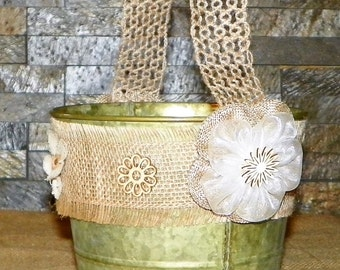 "Rustic Flower Girl Basket in Copper Green Patina 6"" High by 7"" Wide Metal Bucket, Burlap Ribbon and Flowers, Wood Laser Cut Flowers,"