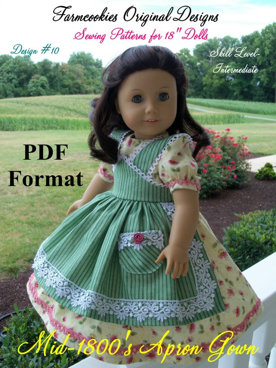 """PDF Sewing Pattern fits American Girl Marie Grace, Cecile or Caroline: Mid-1800s Apron Gown/ Pattern for 18"""" Dolls"""