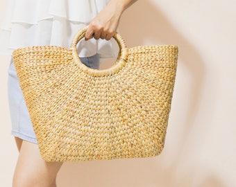 Straw bag Weaving seagrass top handle bag, handmade bag , boho bag, straw purse from Thailand #08